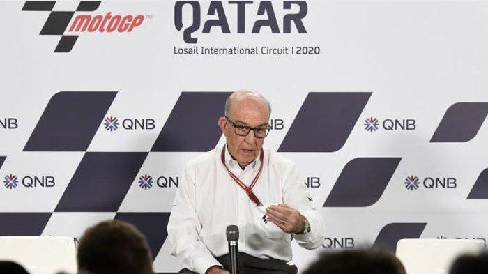 CEO Dorna Sport Carmelo Ezpeleta saat konferensi pembatalan MotoGP Qatar, Sabtu (7/3/2020)