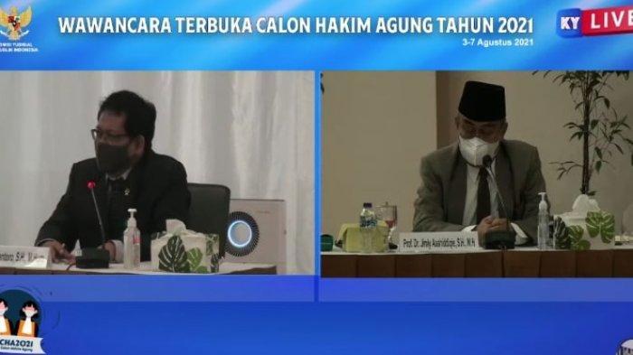 Calon Hakim Agung Catur Iriantoro ditanya cara mengatasi masalah melimpahnya tumpukan perkara yang belum terselesaikan, dalam sidang Wawancara Terbuka Calon Hakim Agung Tahun 2021 di kanal Youtube Komisi Yudisial, Rabu (4/8/2021).