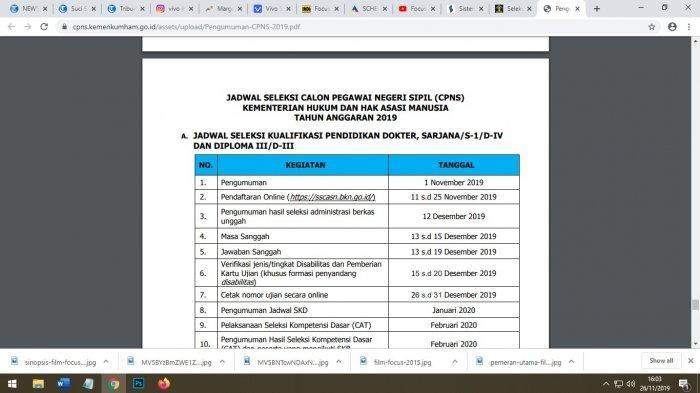 Cara cek pendaftaran di Kemenkumham.(Tangkapan layar dari cpns.kemenkumham.go.id)