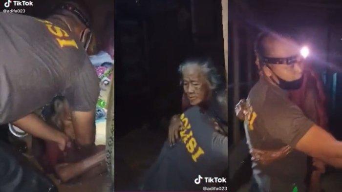 Cerita Bripka Taufik yang menolong seorang nenek di tengah banjir Kalsel, mengaku sedih saat tahu kondisi sang nenek.