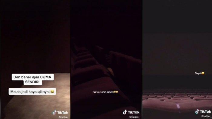 Cerita seorang gadis yang menonton film horor sendiran di bioskop viral, mengira penonton lain telat datang.