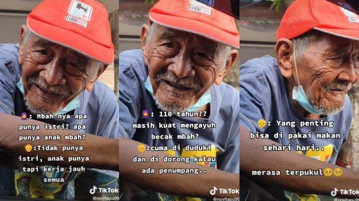 Cerita seorang kakek berusia 110 tahun yang masih bekerja sebagai penarik becak, viral di media sosial.