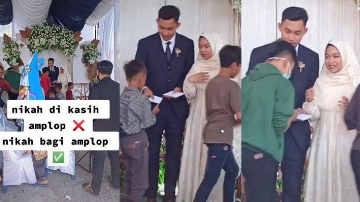 Cerita sepasang pengantin yang membagikan amplop untuk anak yatim di hari pernikahannya, viral di media sosial.