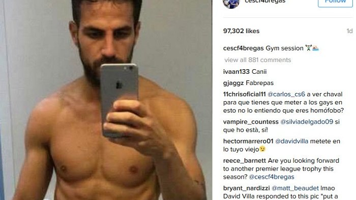 Cesc Fabregas pamer perut di instagram