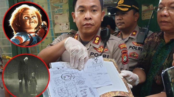 Wakil Kapolres Metro Jakarta Pusat AKBP Susatyo Purnomo memperlihatkan buku catatan milik NF (15), ABG perempuan yang membunuh APA (6), teman adiknya di Sawah Besar, Jakarta Pusat, Jumat (6/3/2020). (Inset) Film Chucky dan Slender Man, film horor yang suka ditonton NF.