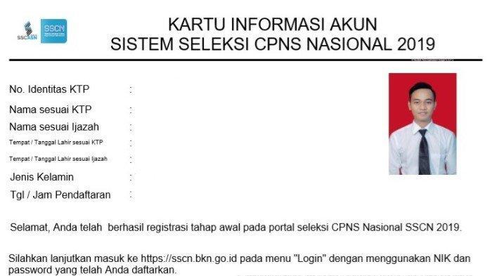Hasil melakukan pembuatan akun di web SSCN akan mendapatkan Kartu Informasi Akun.