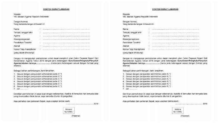 Contoh Surat Lamaran dan Surat Pernyataan untuk Pendaftaran CPNS Kemenag 2019, Download di Sini