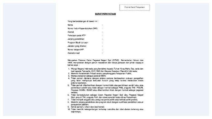 Contoh Surat Pernyataan Kemenkumham.