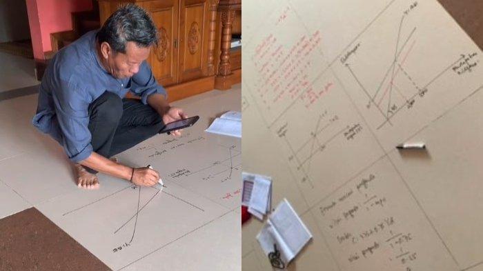 VIRAL Dosen Coret-coret Lantai sebagai Ganti Papan Tulis saat Kuliah Online, agar Mahasiswanya Paham