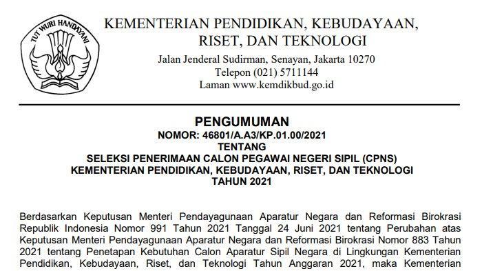 Syarat dan Tata Cara Daftar CPNS Kemendikbudristek 2021 ...