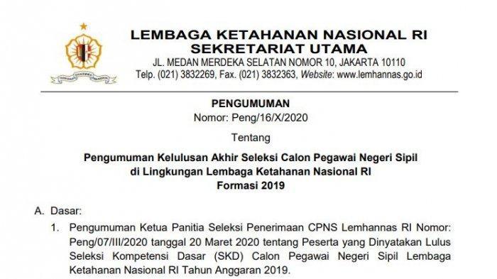 CPNS Lembaga Ketahanan Nasional RI Formasi 2019