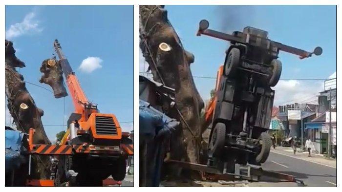 VIRAL Video Truk Crane Terjungkir Tak Kuat Angkut Potongan Pohon di Malang