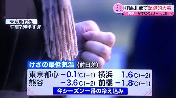 Pertama Kali Cuaca Tokyo Jepang Tahun Ini Di Bawah Nol Derajat Celcius