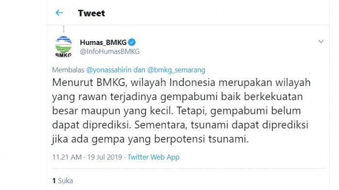 Cuitan BMKG menanggapi kabar gempa 8,8 SR di selatan Pantai Jawa