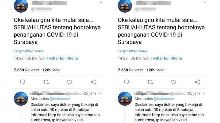 Cuitan di akun Twitter viral di media sosial setelah menuliskan perihal penanganan Covid-19 di Surabaya pada 26 Mei 2020.