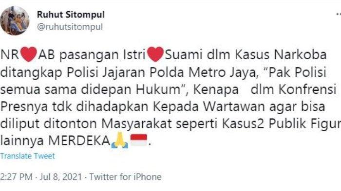 Cuitan Ruhut Sitompul soal penangkapan Nia Ramadhani dan Ardi Bakrie