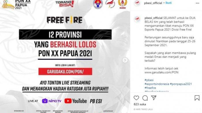 Daftar free fire esports pon xx