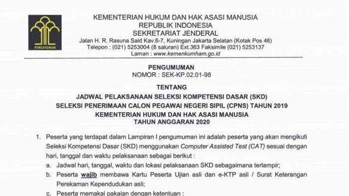Jadwal dan lokasi Seleksi Kompetensi Dasar (SKD) Calon Pegawai Negeri Sipil (CPNS) 2019 di (Kemenkumham).