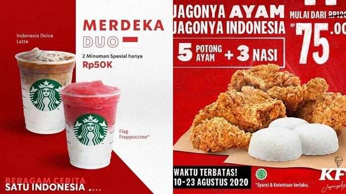 Daftar Promo HUT ke-75 RI: Starbucks, BreadTalk, Pizza Hut, Burger King, KFC, JCO hingga Yoshinoya
