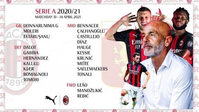 DAFTAR Susunan Pemain AC Milan vs Genoa Liga Italia - Romagnoli In & Ajang Pembuktian Mandzukic