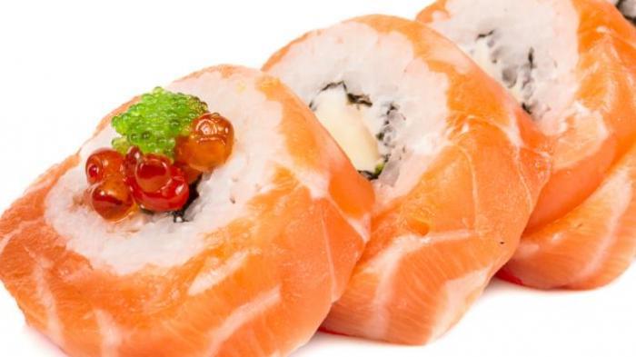Potongan daging ikan salmon.