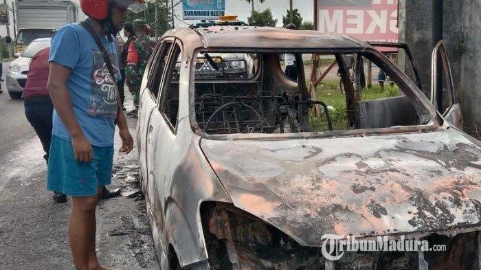 Mobil Terbakar hingga Sopir Teriak di Pintu Jembatan Suramadu, Xenia Ludes Hanya Tersisa Rangka