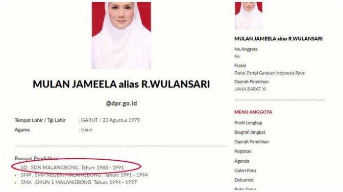 Ramai Riwayat Pendidikan Mulan Jameela Menempuh SD Cuma 3 Tahun, DPR Akui Salah Ketik