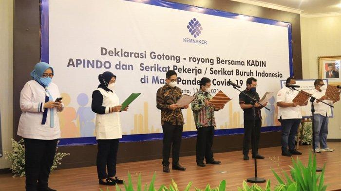 Kemnaker, Apindo, Kadin, dan Pekerja Gelar Deklarasi Gotong Royong