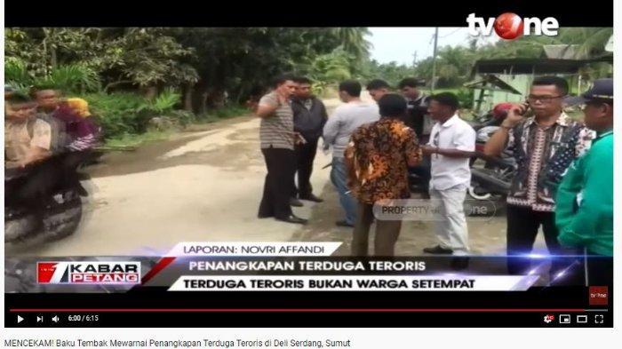 Terduga teroris yang ditembak mati bukan warga setempat (Tangkap Layar tvOne).