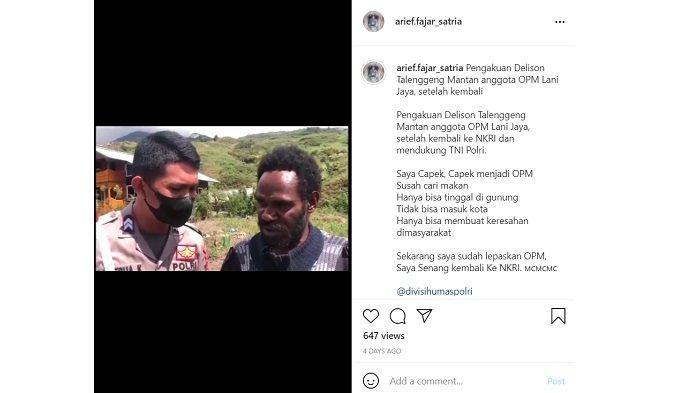 Mantan anggota KKB Papua pimpinan Purom Wenda, Delison Talenggeng (kanan).