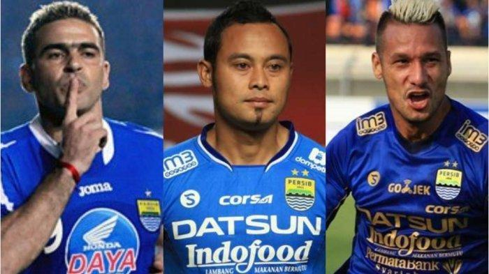 Deretan eks Persib Bandung (kiri-kanan) Cristian Gonzales, Atep, Raphael Maitimo.