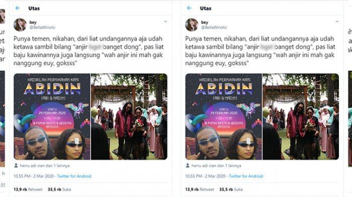 Desain undangan pernikahan unik yang viral di Twitter (Twitter.com/BellaWinoto)