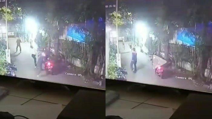 Terekam CCTV Aksi Perampok Bacok Sekuriti Komplek saat Terpergok Akan Mencuri, 3 Jari Korban Putus
