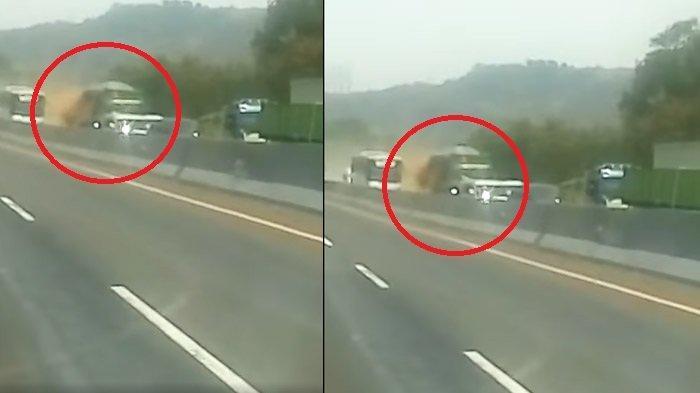 Video Detik-detik Kecelakaan Tol Cipularang, Perekam Panik Saat Truk Tabrak Mobil Sampai Terbakar