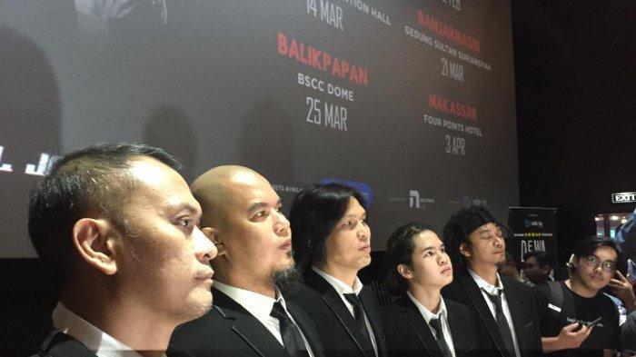 Dewa 19, Once dan Dul Jaelani dalam jumpa pers di kawasan Senayan, Jakarta Pusat, Rabu (15/1/2020).