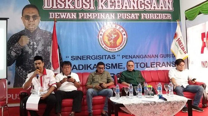 """Dewan Pimpinan Pusat Forum Relawan Demokrasi (DPP FOREDER) menggelar seminar diskusi kebangsaan yang bertema """"Sinergitas"""" Penanganan Gurita Radikalisme, Intoleransi, Terorisme"""