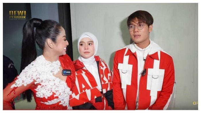 Dewi Perssik, Lesti, dan Rizky Billar dalam tayangan YouTube Dewi Perssik, Selasa (18/8/2020). Rizky Billar tampak gerogi ditanya soal hubungannya dengan Lesti.