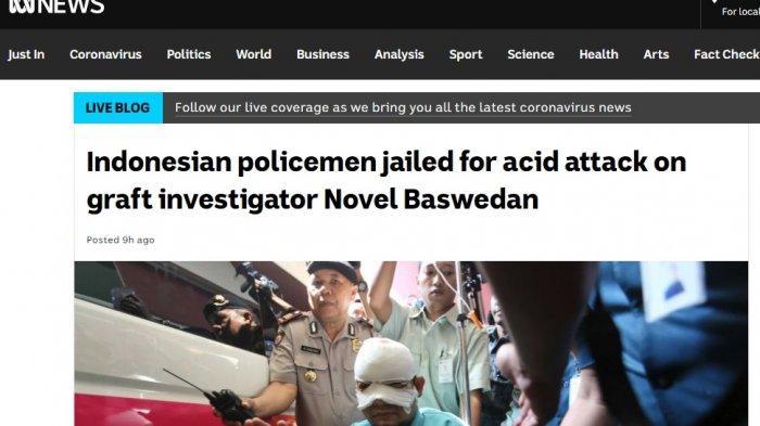 Pemberitaan kasus Novel Baswedan di ABC News.