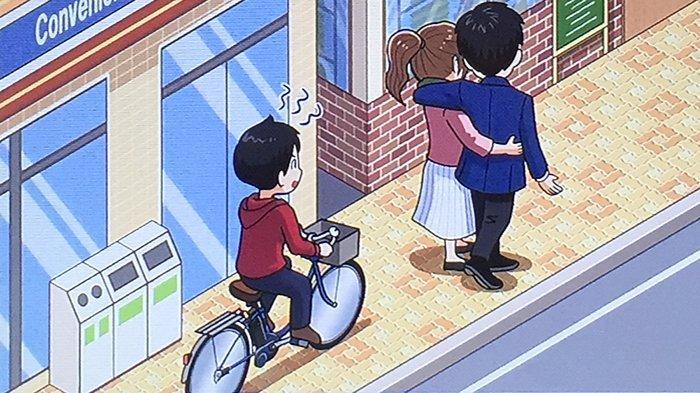 Dilarang membunyikan bel sepeda ketika ada orang jalan di depan sepeda.