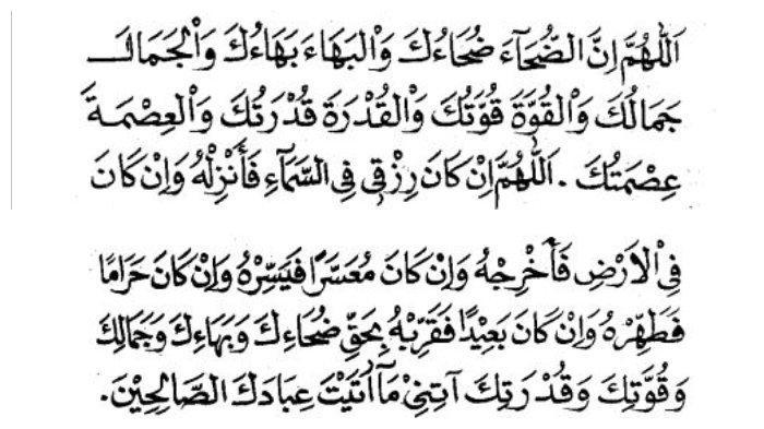 Do'a yang dibaca setelah seleai shalat dhuha.