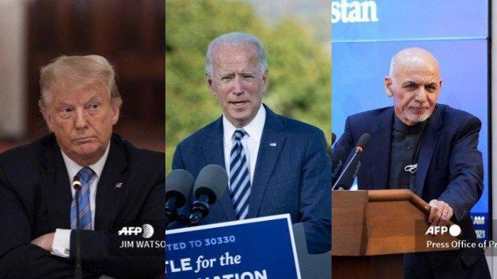 Mantan Presiden AS, Donald Trump; Presiden AS, Joe Biden; dan Presiden Afghanistan, Ashraf Ghani.