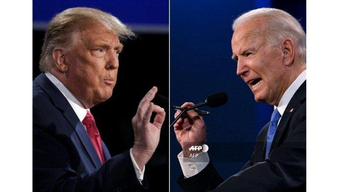 (COMBO) Kombinasi gambar yang dibuat pada 22 Oktober 2020 ini menunjukkan Presiden AS Donald Trump (kiri) dan kandidat Presiden dari Partai Demokrat dan mantan Wakil Presiden AS Joe Biden saat debat terakhir presiden di Belmont University di Nashville, Tennessee, pada 22 Oktober 2020 .