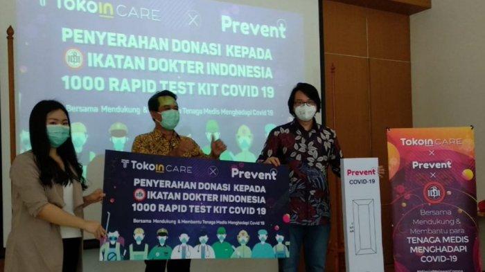 Diserahkan ke IDI Pusat, Tokoin Care Donasi 1000 Alat Rapid Test untuk Tenaga Medis