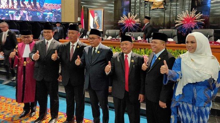 Lima Pimpinan DPRD DKI telah dilantik hari ini di Gedung DPRD DKI Jakarta, Senin (14/10/2019)