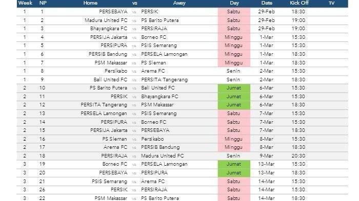 Draf Jadwal Liga 1 2020: Arema FC Vs Persib Bandung Jadi Laga Home Perdana Singo Edan