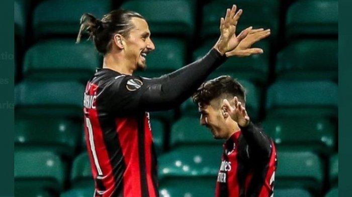 Dua pemain AC Milan, Zlatan Ibrahimovic dan Brahim Diaz.