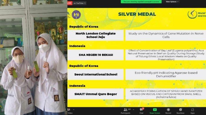 Ciptakan Hand Sanitizer dari Bekicot, Siswi SMAIT Ummul Quro Bogor Raih Medali di Ajang WYIIA 2021
