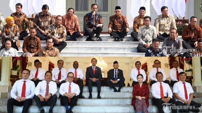 Jokowi memperkenalkan menteri dan wakil menterinya dengan gaya lesehan di tangga Istana.