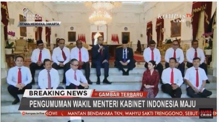 Presiden Joko Widodo didampingi Ma'ruf Amin memperkenalkan 12 wakil menteri di Kabinet Indonesia Maju.