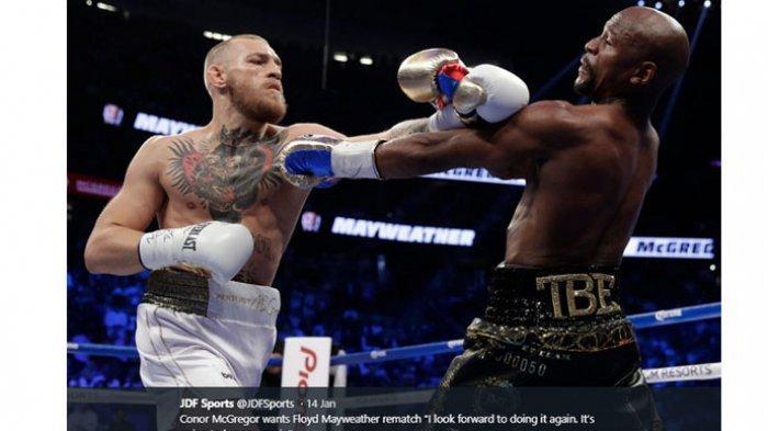 Duel tinju antara Conor McGregor vs Floyd Mayweather Jr berlangsung di T-Mobile Arena, Las Vegas, Agustus 2017 silam. Saat itu, McGregor kalah melalui technical knockout (TKO) dari Mayweather di ronde kesepuluh.